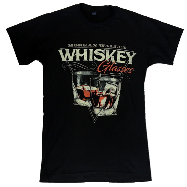 Morgan Wallen Black Tee- Whiskey Glasses