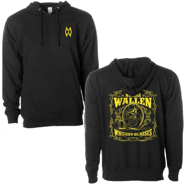 Morgan Wallen Whiskey Glasses Black Pullover Hoodie